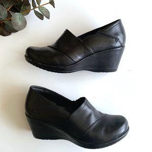Dansko Black Leather Wedge Clog Heels